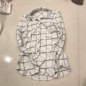 Black And White Grid Flannel Shirt